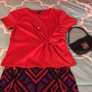 Express Red Twist tie Tee Large NWT